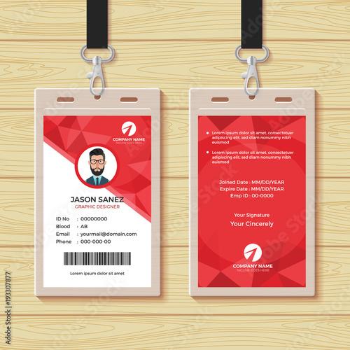 red geometric employee id card design template