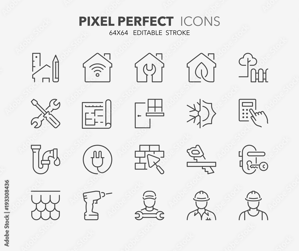Fototapety, obrazy: home renovation thin line icons