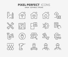 Home Renovation Thin Line Icons
