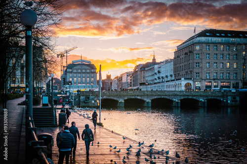 Plakat Hamburg Alster piękny zachód słońca