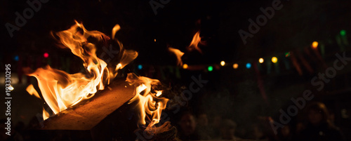 Fire with flames and bokeh lights Wallpaper Mural