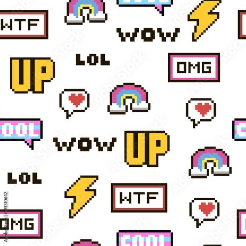Wektor wzór - styl pixel 80s-90s. Pojedyncze ilustracje - idealne do naklejek, haftów, odznak. Zestaw kolorowych odznaki kreskówka.