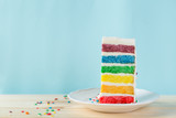 Fototapeta Tęcza - Birthday background - striped rainbow cake with white frosting