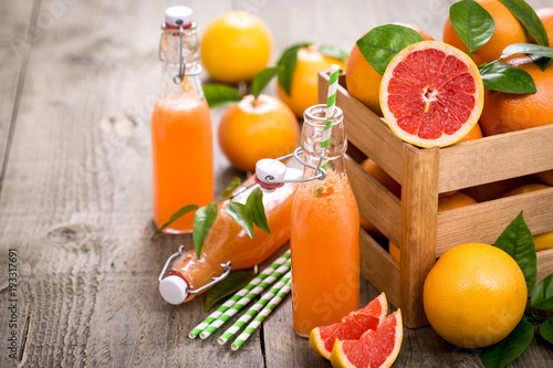 Grapefruit juice in the bottle