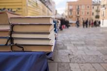 Old Books At Flea Market At Tarragona, Catalonia, Spain