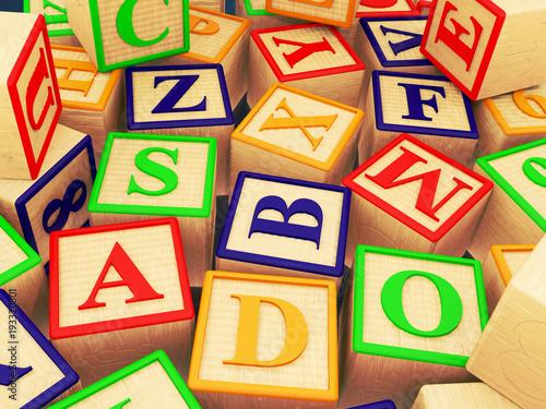 wooden letter blocks randomly scattered 3d illustration