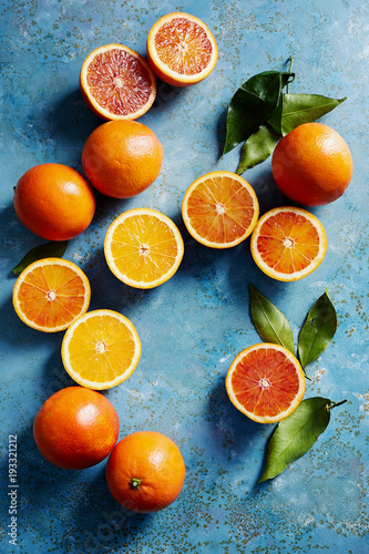 Blood oranges, whole and sliced