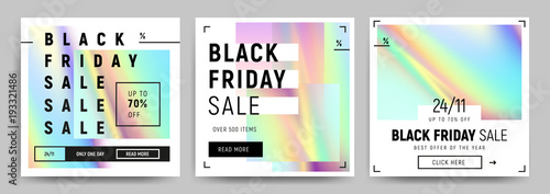Fotografía  Set of blue, green and pink gradients sale banners