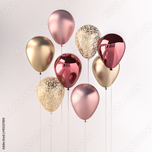 Obraz na plátne Set of pink and golden glossy balloons on the stick with sparkles on white background
