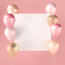 Pink Color And Golden Balloons...