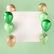 Green Color And Golden Balloons With Sequins And White Sticker. Green Background For Social Media. 3D Render For Birthday, Party, Wedding Or Promotion. Vibrant And Realistic Illustration.