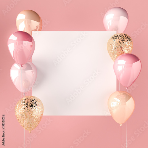 Fotografia Pink color and golden balloons with sequins and white sticker