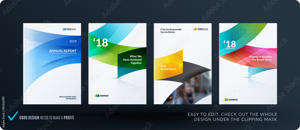 Fototapeta Set of design brochure, abstract annual report, horizontal cover