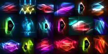 Neon Glowing Light Abstract Ba...