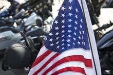 American Flag Mounted On Motor...
