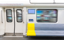 Interior View Of A Subway Car