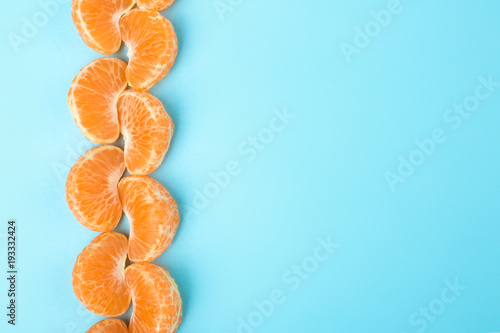 mandarin slices folded in queue, frame of citrus fruit