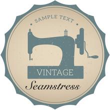 Vintage Emblem Of Retro Sewing Machine