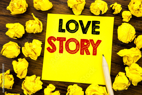 Writing text showing Love Story  Business concept for Loving