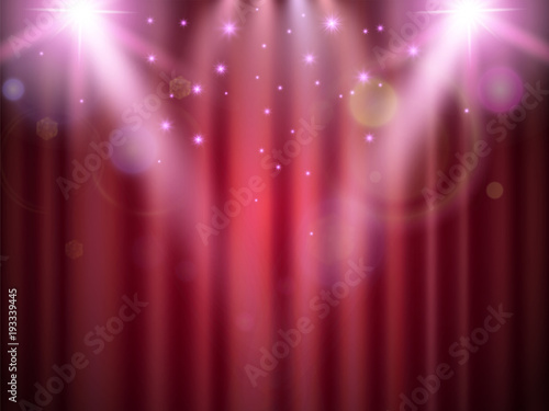 Foto  Stage projector light on the scene curtains banner for concerts, performances, advertisement posters