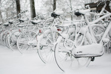 Bicycles Covered With Snow In ...