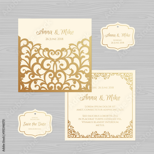 Wedding Invitation Or Greeting Card With Vintage Ornament Paper Lace Envelope Template