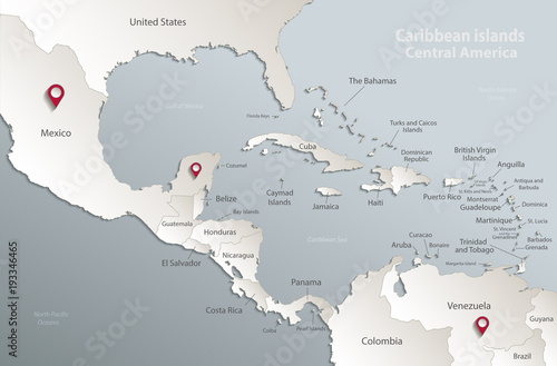 Caribbean islands Central America map, state names, separate states, card blue w Wallpaper Mural