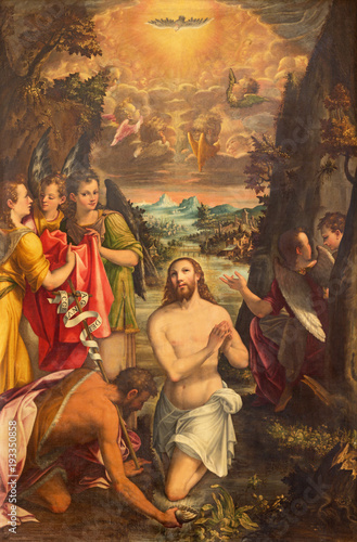 Fotografía CREMONA, ITALY - MAY 24, 2016: The panting of Baptism of Jesus in church Chiesa di San Agostino by Andreas Mainardus (1593)