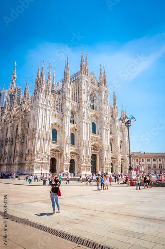 Cathedral Duomo di Milano in Square Piazza Duomo at morning, Milan, Italy.