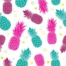 Vector Green Pink Pineapples S...