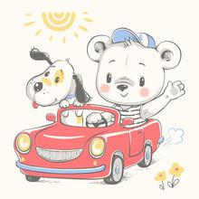 Cute Baby Bear Driving Car And...