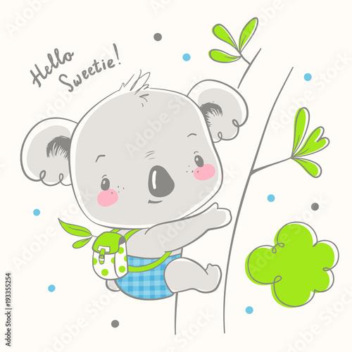 Fototapeta premium Cute koala baby cartoon ręcznie rysowane ilustracji wektorowych. Może być stosowany do nadruku na koszulce dla dzieci, projektowania modowego nadruku, odzieży dziecięcej, powitania z okazji urodzin baby shower i karty z zaproszeniem.