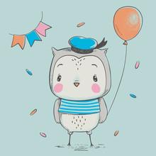 Cute Owlet With A Balloon Cart...