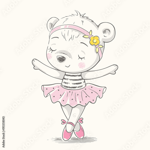 Fotografie, Tablou  Cute baby bear ballerina dancing cartoon hand drawn vector illustration