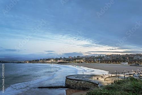 Beautiful long exposure shot of Santander beach at dusk Poster