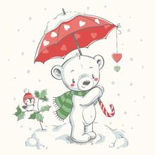 Cute Bear With Christmas Umbre...