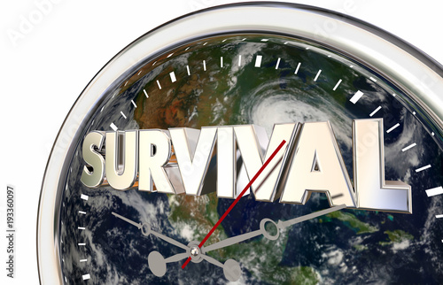 Fototapeta Survival Countdown Planet Earth World Clock 3d Illustration
