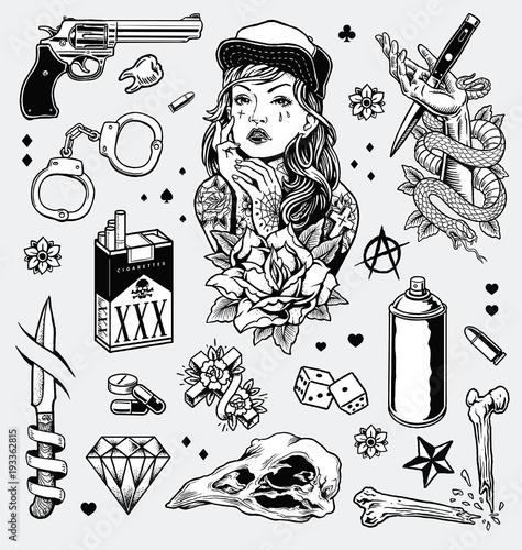 Edgy Black and White Tattoo Flash Set