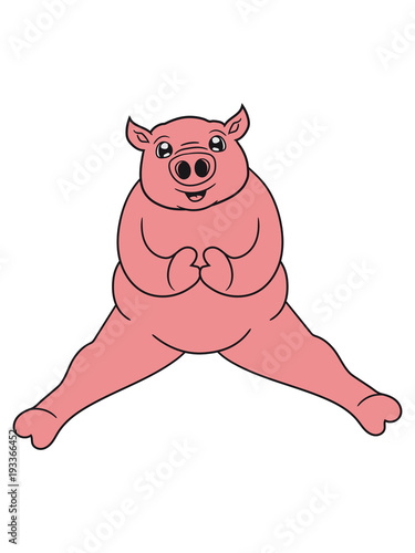 Sitzend Fett Dick Schwein Süß Niedlich Comic Cartoon Lachen Clipart