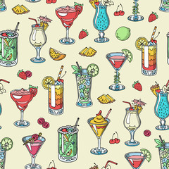 FototapetaCocktail vector alcohol beverage drinking alcoholic tequila martini drink cocktail in glass with pina colada mojito and cosmopolitan or drinkable bellinis seamless pattern background