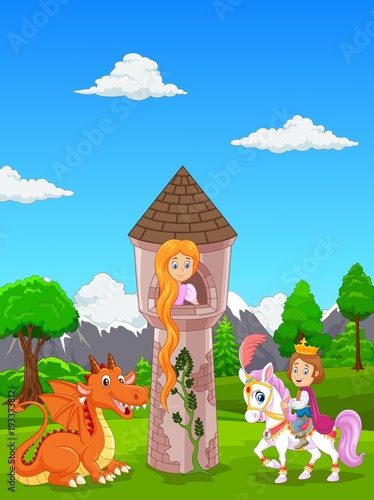 Papiers peints Chateau Beautiful princess with long hair at a castle, and a prince riding a horse
