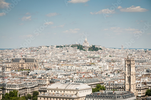 Photo  Aerial view of Paris with Sacre-Couer on background