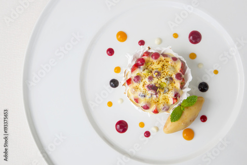 Beautiful elegant colorful dessert in a plate