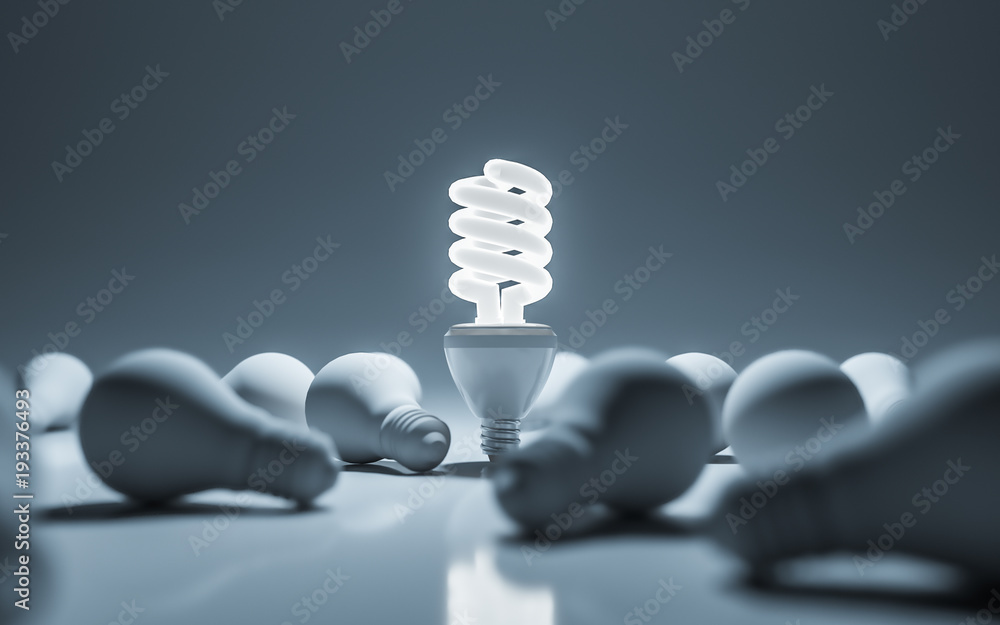 Fototapeta One glowing compact fluorescent lightbulb standing. 3D rendering.