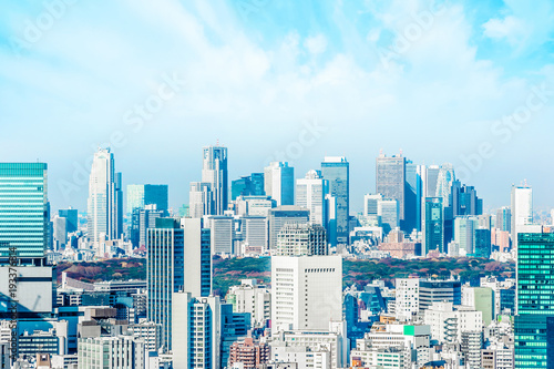 Aluminium Prints Asia Business concept for real estate and corporate construction - panoramic modern city skyline aerial view of Shinjuku area under blue sky in Tokyo, Japan