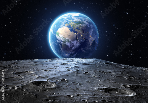 Photographie  blue earth seen from the moon surface_Elements of this image are furnished by NA