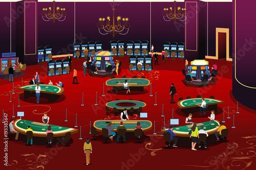 People Gambling in Casino Illustration плакат