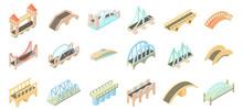 Bridge Icon Set, Cartoon Style