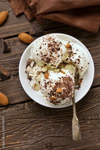Fototapety, obrazy: Vanilla chocolate ice cream with nuts