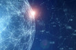 canvas print picture - Network globe with numbers, view from space and flare of light.